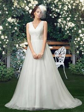 Eye Catching V Neck Lace Appliques A Line Plus Size Wedding Dress
