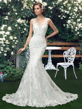 Ladylike V Neck Beaded Sequins Lace Mermaid Wedding Dress