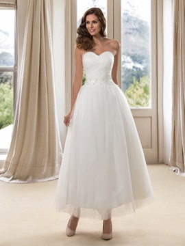 Simple Style Strapless Sweetheart A Line Ankle Length Wedding Dress