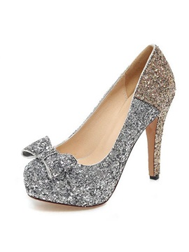 Sequin Studded Bowknot Decorated Pumps