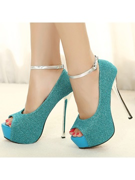 Sequin Studded Peep Toe Ankle Strap Pumps