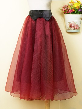 Solid Color Organza High Waist Skirt