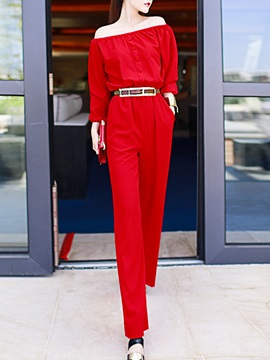 Red Long Sleeve Off Shoulder Jumpsuit