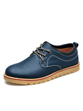 Solid Color Plain Toe Lace Up Derbies