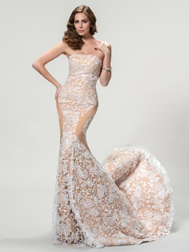 Dazzling Strapless Mermaid Lace Court Train Long Evening Dress Designed