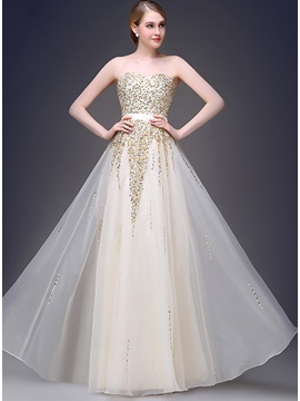 Bright Sweetheart Beading Strapless A Line Long Prom Dress