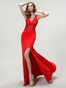 Unique V Neck Split Front Appliques Long Evening Dress