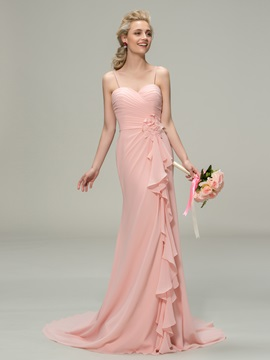Spaghetti Straps Sweetheart Mermaid Long Bridesmaid Dress