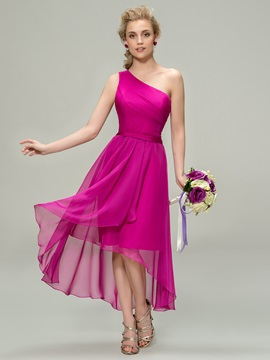 Eye Catching Ruched One Shoulder High Low Bridesmaid Dress