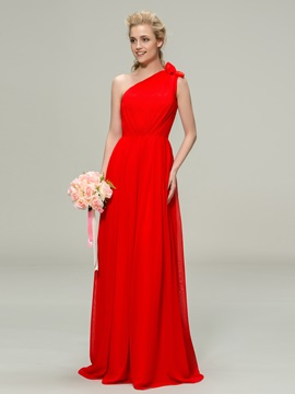 Style One Shoulder A Line Long Chiffon Bridesmaid Dress