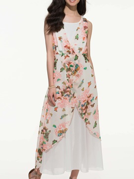White Floral Print Double Layer Sleeveless Dress