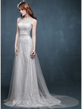 Timeless Bateau Neck A Line Lace Beading Floor Length Evening Dress