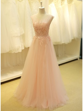 Tidebuy Dramatic Scoop Neck Beading Lace A Line Long Prom Dress