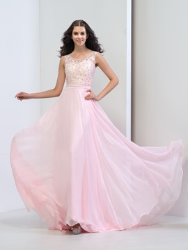 Fancy Scoop Neck Lace Beaded A Line Long Pink Prom Dress