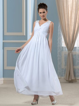 Simple Chiffon V Neck Beaded Ankle Length Empire Wedding Dress