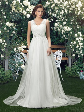 Straps Lace Floor Length A Line Wedding Dress