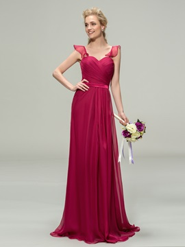 Simple Sweetheart Straps Pleats A Line Long Bridesmaid Dress