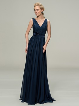 V Neck Straps Floor Length A Line Bridesmaid Dress