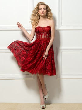 Sweetheart Lace Knee Length Cocktail Dress Designed