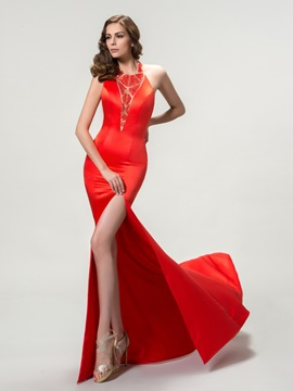 Graceful Halter Sequins Split Front Backless Long Evening Dress