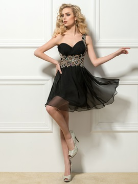 Cool One Shoulder Beaded A Line Short Black Cocktail Dress