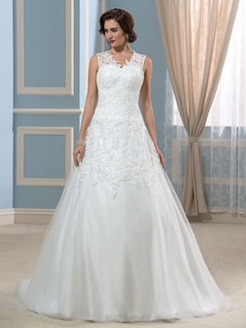 A Line V Neck Appliques Court Lace Wedding Dress