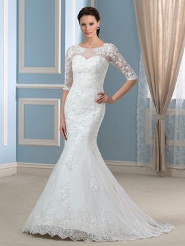 Scoop Half Sleeve Beaded Appliques Lace Mermaid Wedding Dress