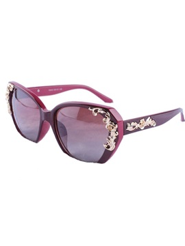 Flower Decorated Resin Lens Sunglasses