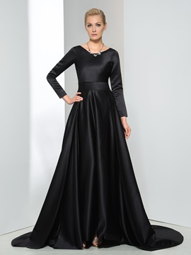Vintage A Line Scoop Neck Sashes Long Sleeve Long Evening Dress