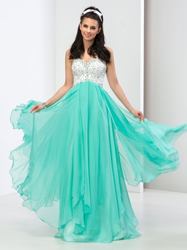 Modern Sweetheart A Line Sequined Beaded Long Prom Dress