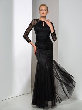 Timeless Jewel Neckline 3 4 Length Sleeves Sheath Beaded Long Evening Dress