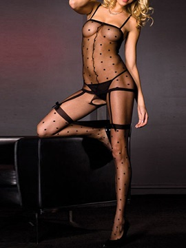 Black Polka Dots Straps Bodystocking