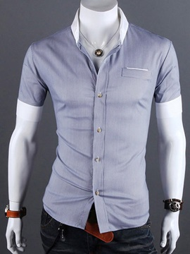 Solid Color Pocket Slim Fit Mens Shirt