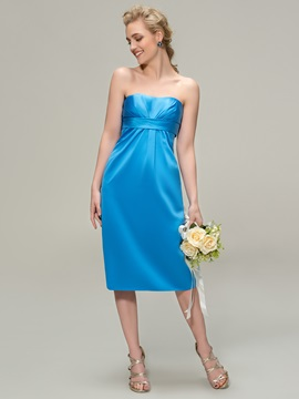 Strapless Sheath Knee Length Bridesmaid Dress