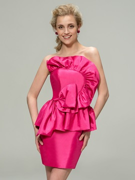 Eye Catching Strapless Ruffles Sheath Mini Taffeta Bridesmaid Dress