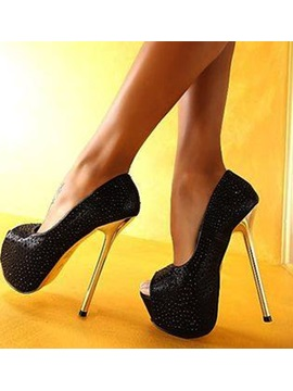 Mysterious Stiletto Peep Toe Heels Black