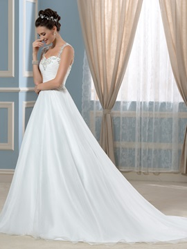 Straps A Line Beaded Pleats Court Train Wedding Dress