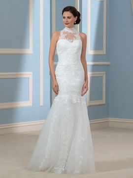 Choker High Neck Tulle Lace Mermaid Trumpet Wedding Dress