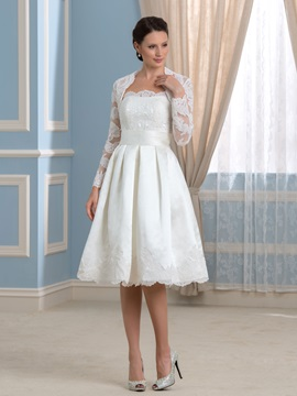 Strapless Knee Length Short Wedding Dress With Lace Long Sleeve Jacket