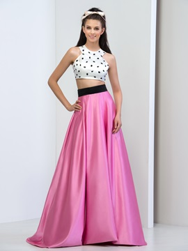 Amazing Jewel Neck Beaded Two Pieces Long Prom Dress