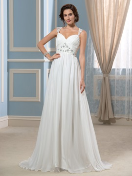 A Line Straps Beading Pleated Chiffon Empire Waist Wedding Dress