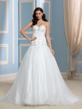 Court Train Beaded Sequins Lace A Line Wedding Dress