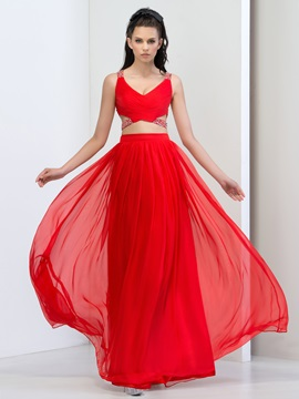 Fashion V Neck Straps Beaded Sequins Hollow Long Red Prom Dress