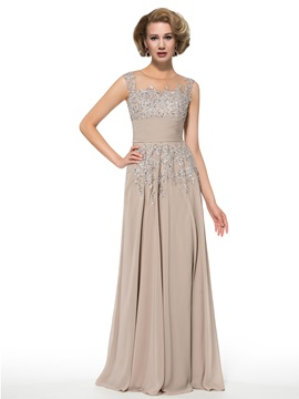 Jewel Neck Embroidery Appliques Floor Length Mother Of The Bride Dress
