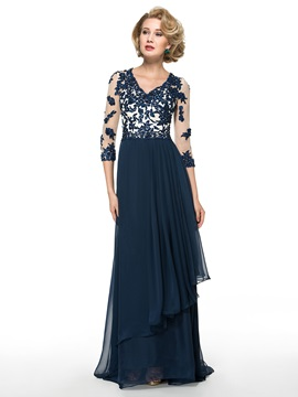 3 4 Length Sleeve Beading Lace Chiffon A Line Mother Of The Bride Dress