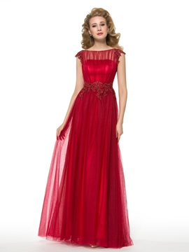Red Lace Tulle Scoop Beaded Plus Size Mother Of The Bride Dress