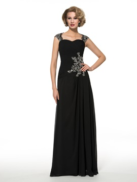 Straps Sequins Appliques A Line Chiffon Mother Of The Bride Dress
