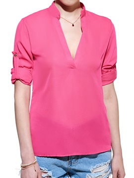 European Style Bright Color Leisure Blouse
