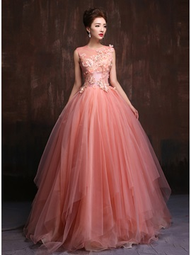 Tidebuy Trendy Tulle Neck Appliques Pearls A Line Quinceanera Dress