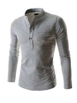 Stand Collar Long Sleeve T Shirt